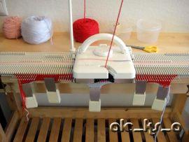 Мастер-класс вязания на машине. шапка с ушками