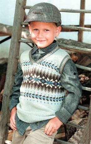 Вязание для детей. Жилет с жаккардовым узором на мальчика. Модель для вязания 28.