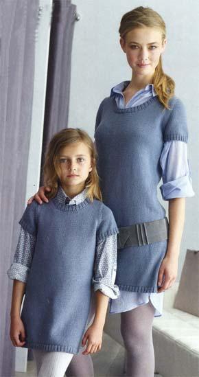 вязание для всей семьи вязаная туника для мамы и дочки модель 2