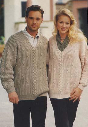 вязание для всей семьи вязаный пуловер для нее и для него модель 3