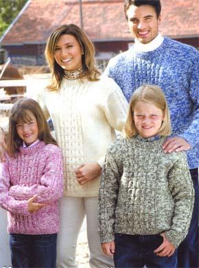 вязание для всей семьи пуловер с рельефным рисунком модель 4