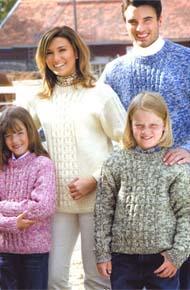 Модель вязания для всей семьи. Вязание спицами и на машине.