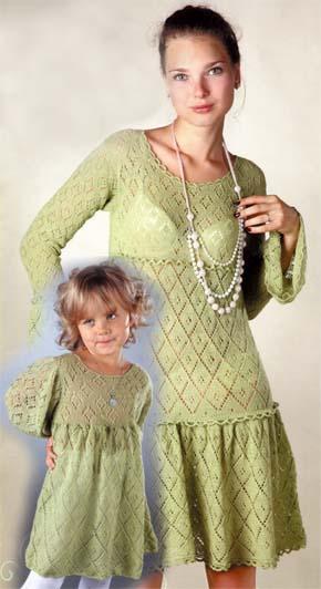 вязание для всей семьи ажурное платье для мамы и дочки модель 5