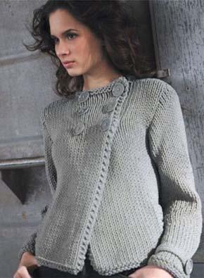 Вязание для женщин. Вязаный двубортный пиджак