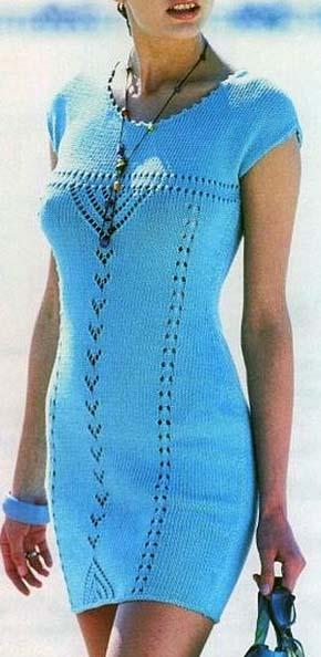 Вязание для женщин.  Вязаное платье коротким приспущенным рукавом. Модель 141