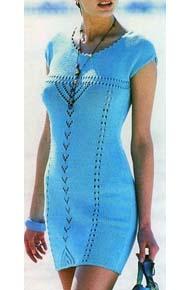 Вязание для женщин. Вязаное платье с коротким приспущенным рукавом