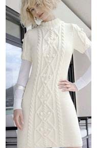 Вязание для женщин. Вязаное платье с аранами