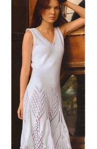 Вязание для женщин. Вязаное платье с ажурным подолом