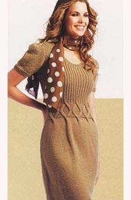 Вязание для женщин. Вязаное платье с аранами.