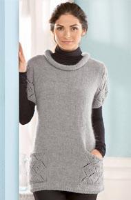 Вязание для женщин. Вязаный пуловер с ажурными карманами и рукавами