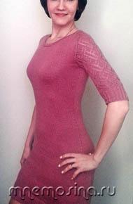 Вязание для женщин. Вязаное платье с ажурным рукавом погон
