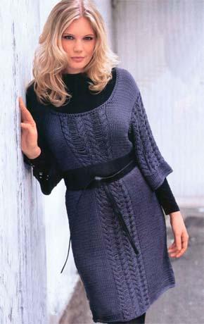Вязание для женщин.  Вязаное платье. Модель 63