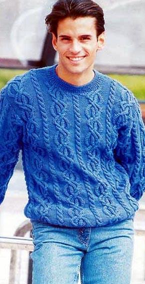 Вязание для мужчин. Пуловер с аранами.