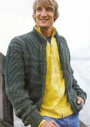Вязание для мужчин. Кардиган с аранами на молнии.