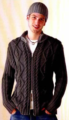 Вязание для мужчин. Узорчатый жакет.
