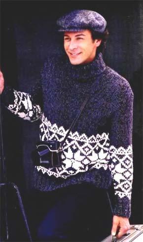 Вязание для мужчин. Пуловер с жаккардовой каймой.