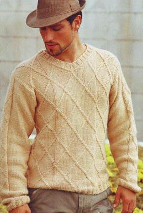 вязание для мужчин пуловер с ромбами модель 18