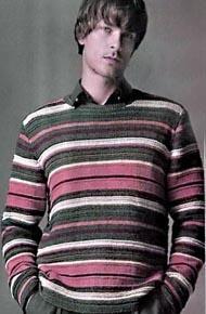 Мужские модели вязания. Пуловер с полосами.