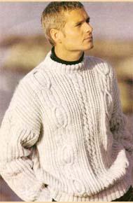 Мужские модели вязания. Пуловер с аранами.
