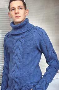 Мужские модели вязания. Свитер с аранами.
