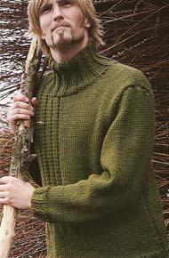 Мужские модели вязания. Свитер с высоким воротником.
