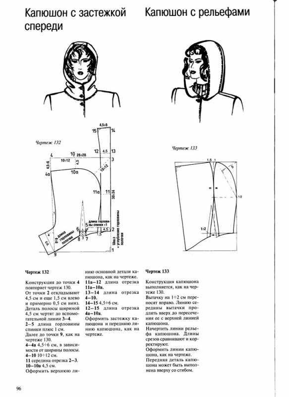 Выкройки съемного капюшона на пальто