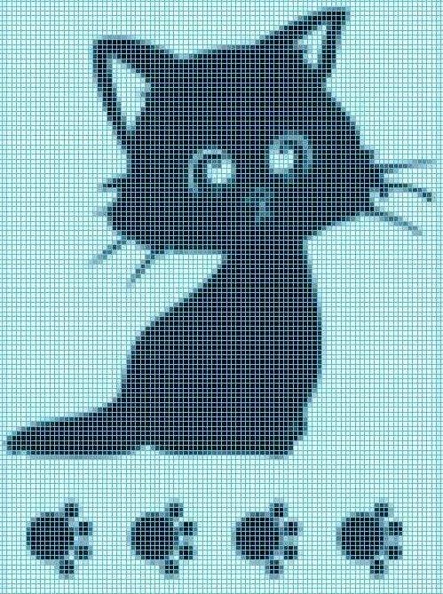 Вязание филейное схемы коты 64
